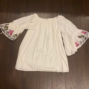 Off the shoulder embroidered tunic